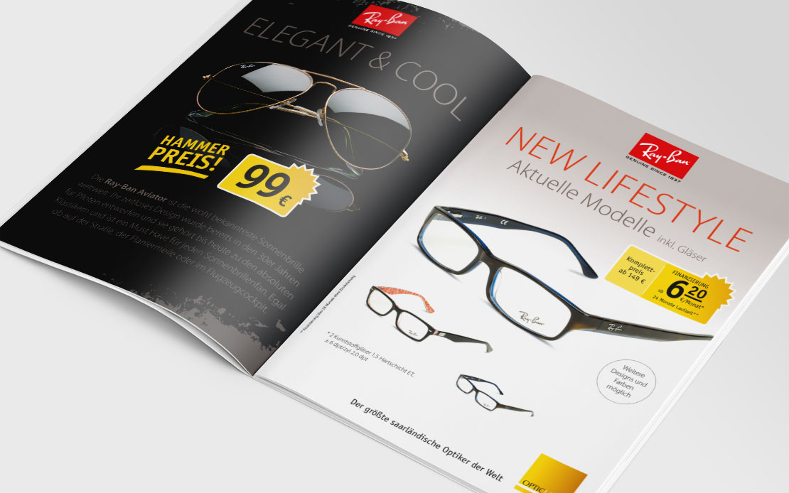 Opticland Die Brille, Saar, Flyer, Mailing, Kampagne